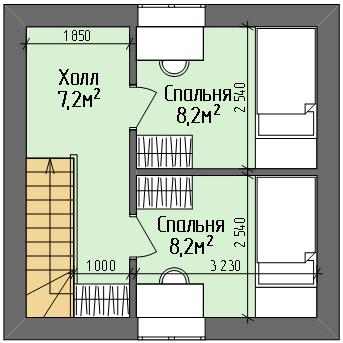 Дом №1. План 2 этажа