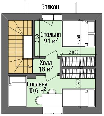 Дом №2. План 2 этажа