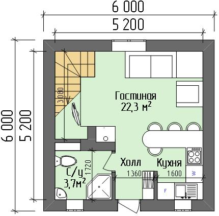 Дом №2. План 1 этажа